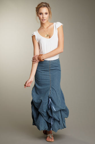 Stretch Denim Balloon Skirt - Blue Denim