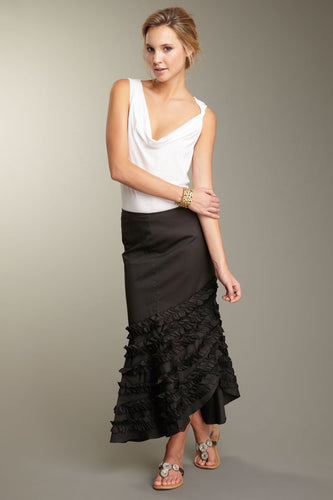 Stretch Poplin Flamenco Skirt - Black
