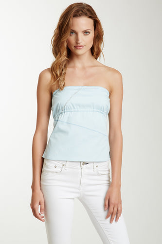Embroided Tube Top - Blue