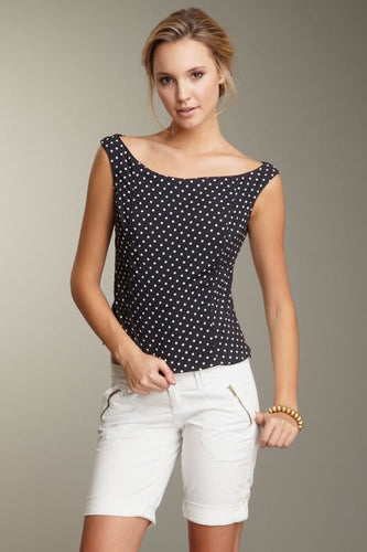 Hepburn's Polka Dot Top - Black / White Dot
