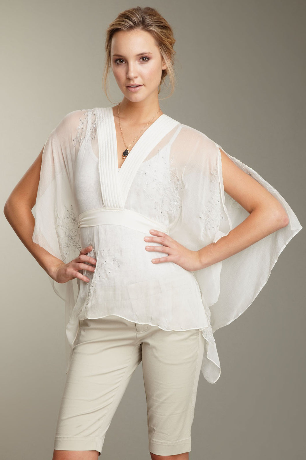 Embroidered Crinkle Chiffon Bali Top - Cloud