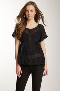 Viscose Gauze Bubble Top - Black
