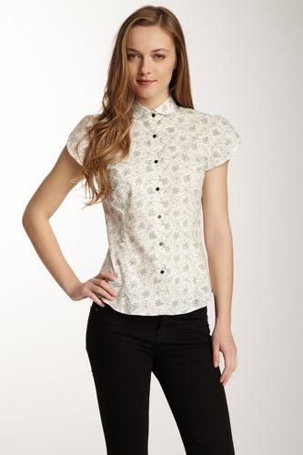 Cotton Tulip Cap Sleeve shirt - Ivory / Black