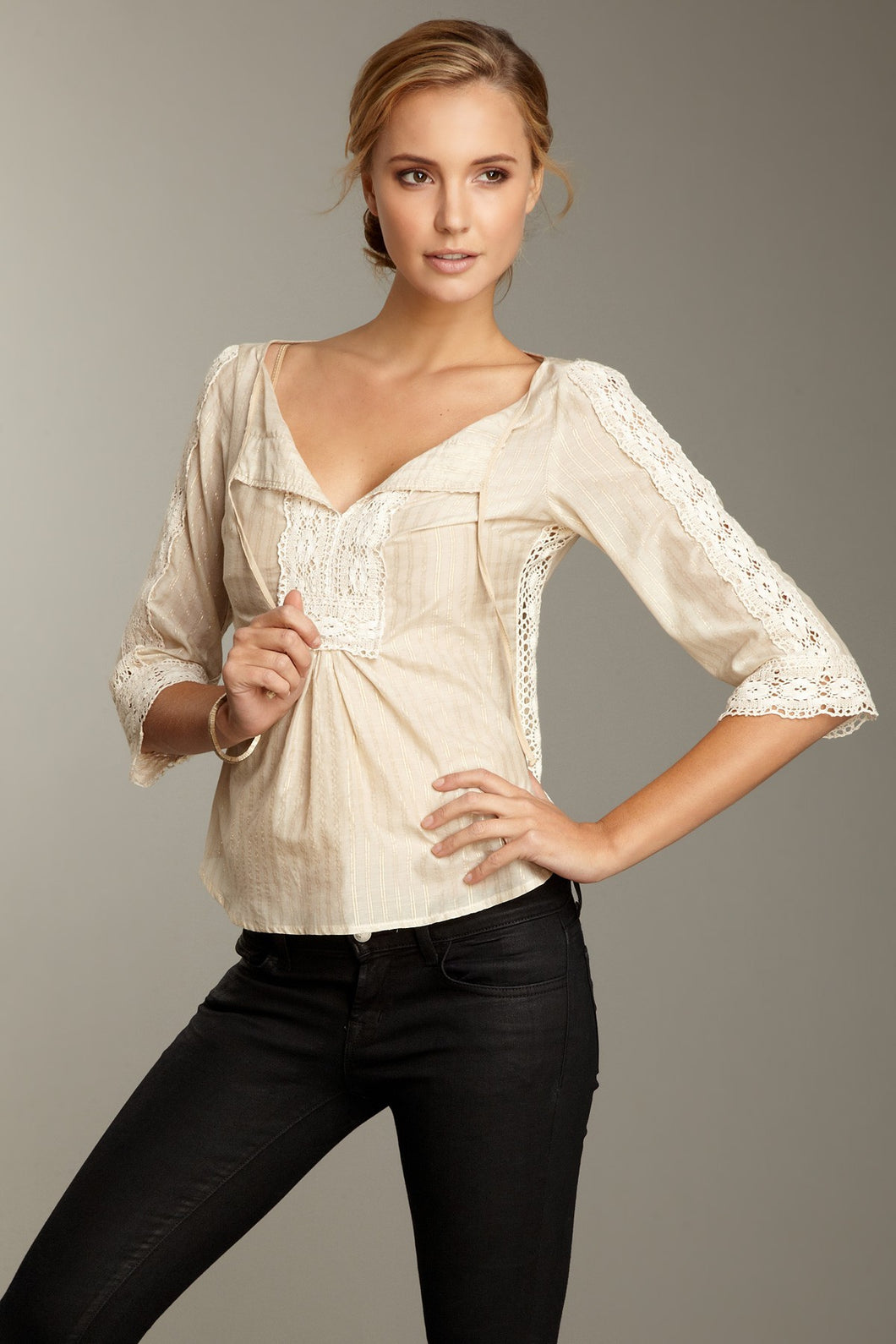 Petite Fit Lacy Cotton/Silk Tunic - Khaki Gold Stripe