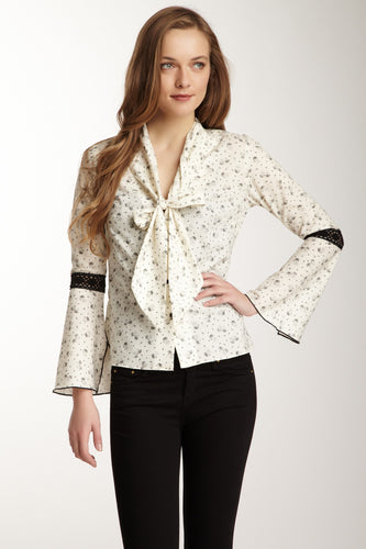 Lace Sleeve Scarf Shirt - Ivory / Black Ditsy Dot Print