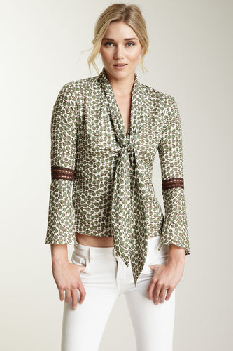 Lace Sleeve Scarf Shirt - Green Apple Print