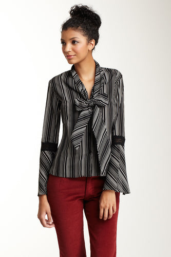 Lace Sleeve Scarf Shirt - Black / White Stripe