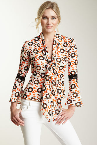 Lace Sleeve Scarf Shirt - Orange Flower