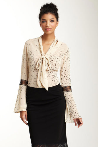 Lace Sleeve Scarf Shirt - Beige Star
