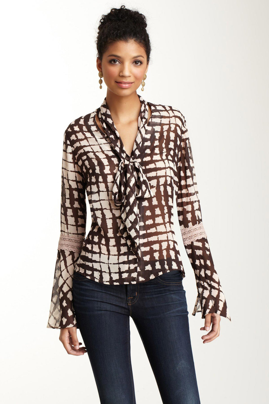 Lace Sleeve Scarf Shirt - Brown / Pink