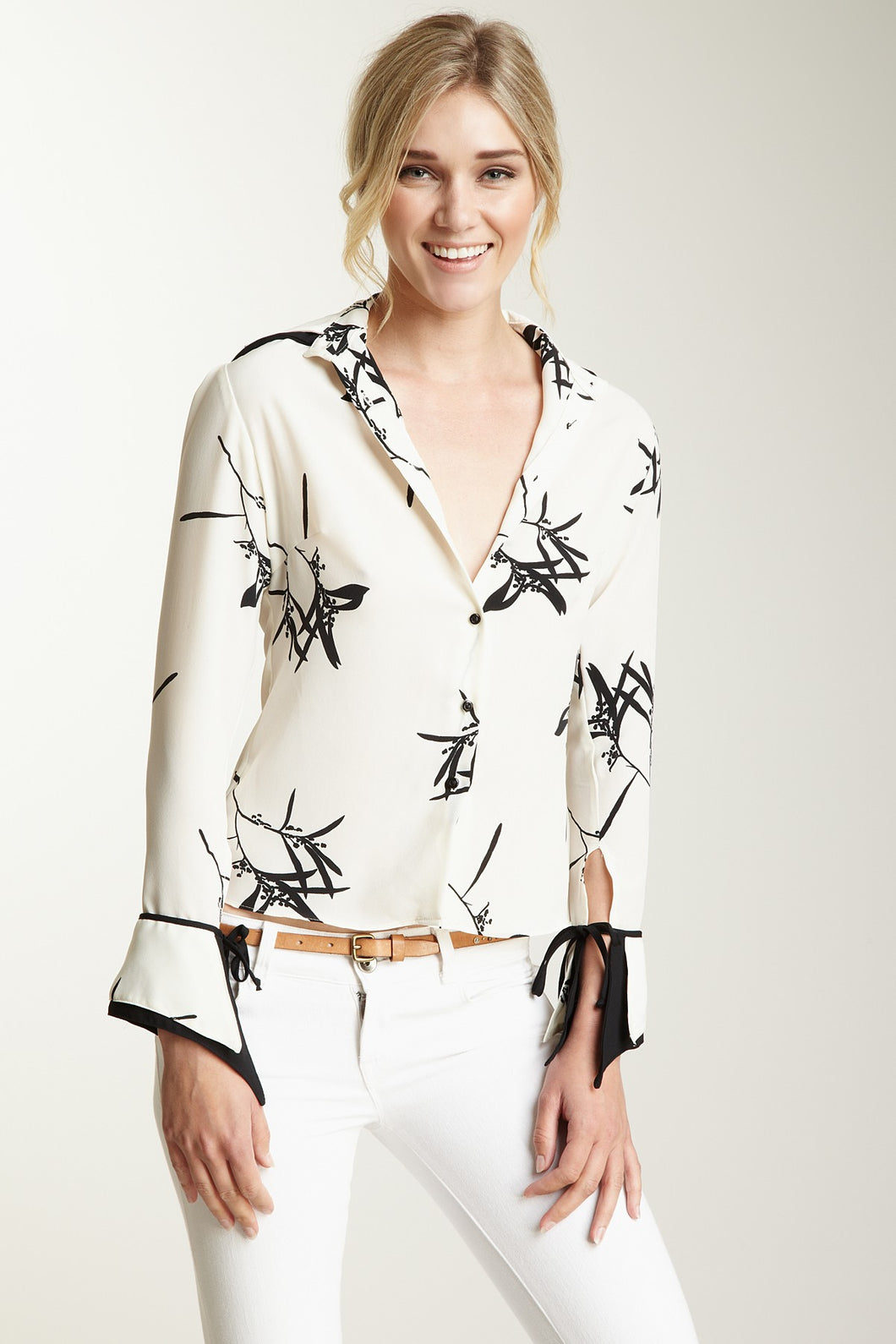 Double Cuff Shirt - Ivory / Black Bamboo Print