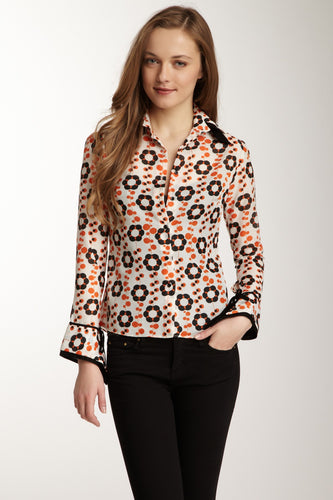 Double Cuff Shirt - Orange Flower Print