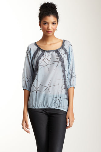 Cotton Silk Lacy Blousson Top - Blue Star