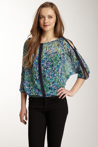 Lace Trim Dolman Sleeve Top - Turquoise / Lavender Berries