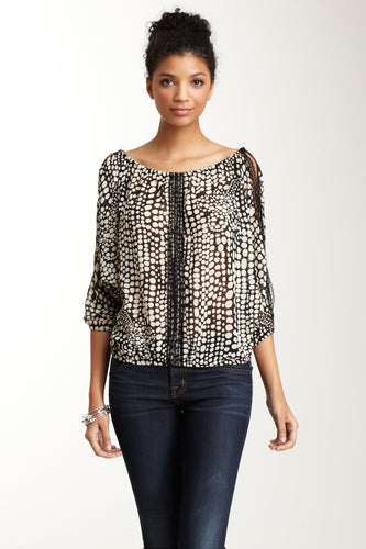 Lace Trim Dolman Sleeve Top - Black / White Pebble