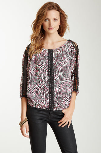 Lace Trim Dolman Sleeve Top - Disco Pink