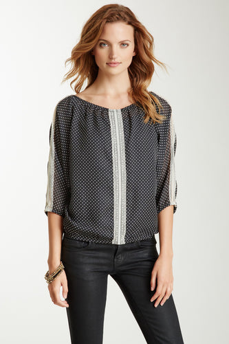 Lace Trim Dolman Sleeve Top - Mini Black / White Dot