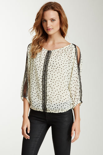 Lace Trim Dolman Sleeve Top - Cream / Black Dot