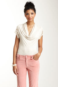 Lacy Cap Sleeve Top - Oatmeal
