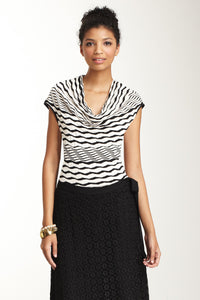 Cawl Neck Top - Black / White Stripe