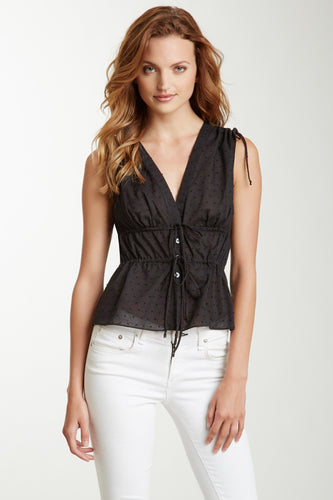 Cindy V-Neck Top - Black Dot
