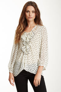 Lace Up Ruffle Top - Cream/Black Dot