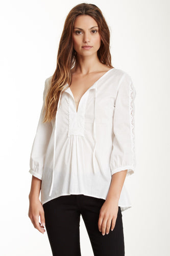 Cotton Lacy Tunic Top - White