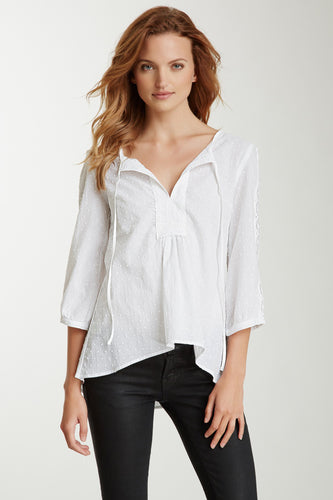 Cotton Lacy Tunic Top - White Dot