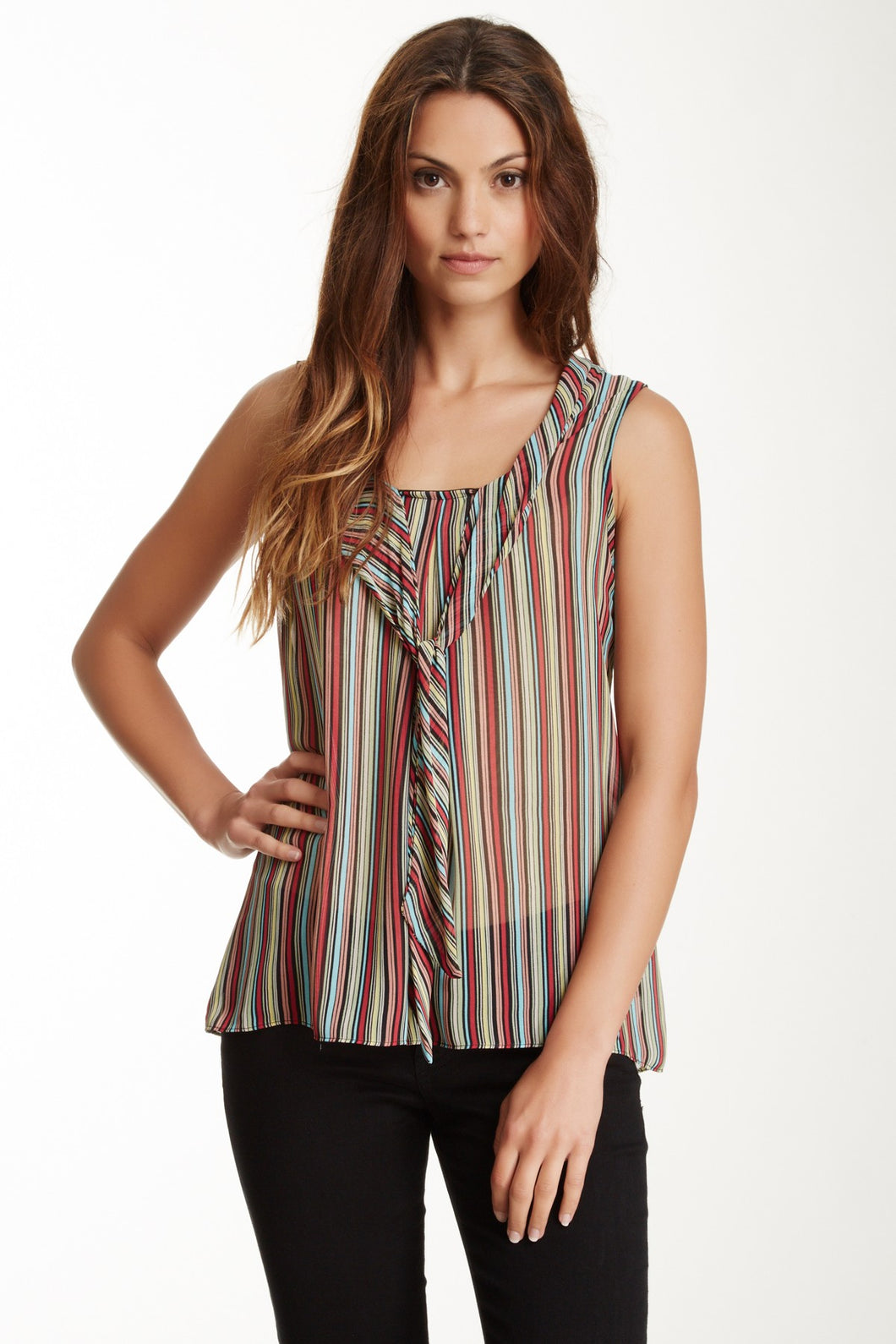 Sleeveless Scarf Neckline Top - Multi Stripe