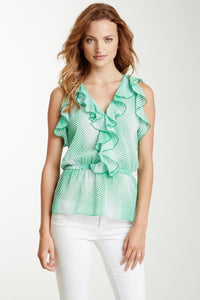 Ruffle V-Neck Peplum Top - Green Geometric