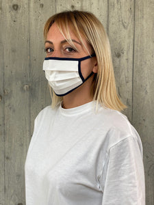 Face Mask White & Blue (Singola)