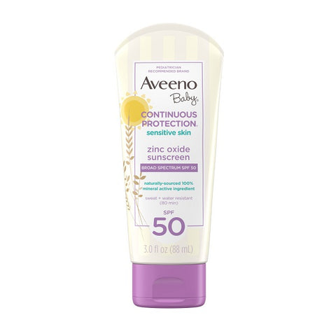 Aveeno Baby - Continuous Protection Sensitive Skin Zinc Oxide Sunscreen Lotion SPF50 88ml