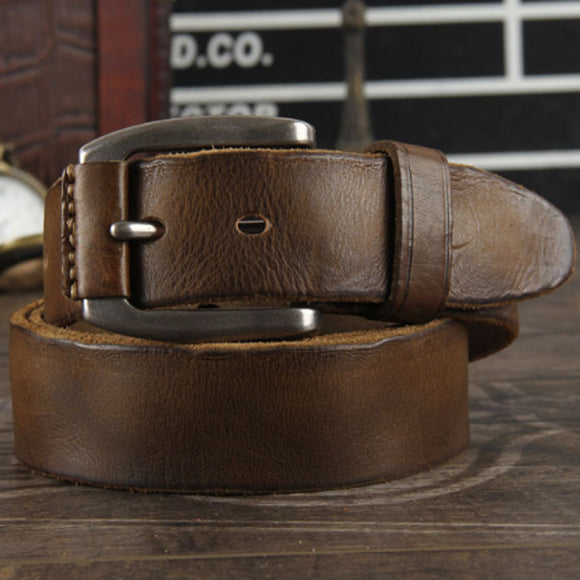 New 2019  crazy horse cowhide leather belt genuine leather belt for men brown color pin buckle jean's strap vintage cinto