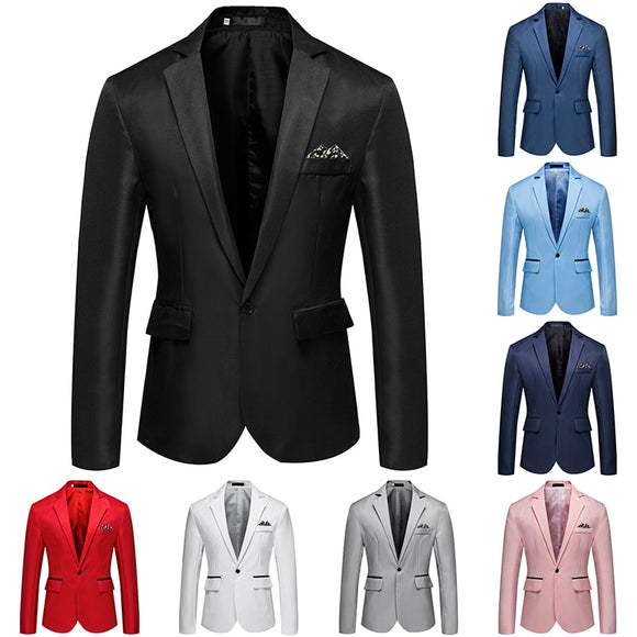 2019New Men'S Fashion Casual Slim One Button Suit Jacket Men'S Business Luxury Suit Jacket 8 Color Small Suit Wedding Party Suit