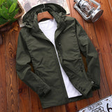 Men's Casual Waterproof Jacket Outwear Spring Autumn Quick Dry Breathable Cargo Windbreaker Jacket Male Hooded Thin Coat 5XL