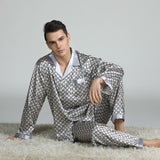Silk Pajamas for Men Sleepwear V-collar Cozy Soft  long sleeve nightgown Tops + Trousers Two Pieces Mens Pajama Set Pajamas Men