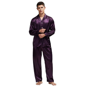 Tony&Candice Men's Stain Silk Pajama Set Men Pajamas Silk Sleepwear Men Sexy Modern Style Soft Cozy Satin Nightgown Men Summer