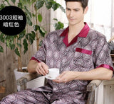 Summer Mens Pajamas Set Silk Pajamas for Men Sleepwear Nightgown Home Stian Soft Cozy Thin Short Sleeve Tops + Pants Bts Pajamas