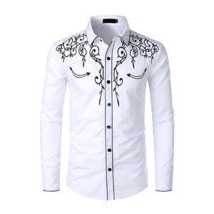 Stylish Western Cowboy Shirt Men Brand Design Embroidery Slim Fit Casual Long Sleeve Shirts Mens Wedding Party Shirt for Male 4