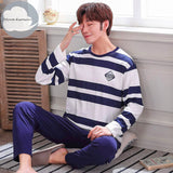 Autumn Winter Men's Cotton Pajamas Letter Striped Sleepwear Cartoon Pajama Sets Casual Sleep&Lounge Pyjamas Plus Size 3XL Pijama