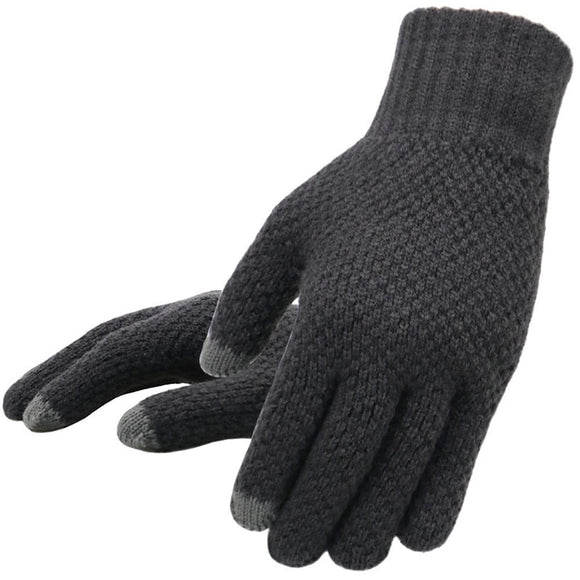 Winter Men Knitted Gloves Touch Screen High Quality Male Mitten Thicken Warm Wool Cashmere Solid Men Business Gloves Autumn