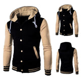 Jacket men's fashion hooded baseball coat cotton cardigan Slim brushed sweatshirt stitching contrast color large size 5XL jacket