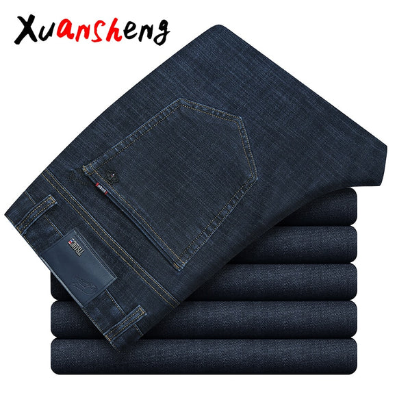 Xuan Sheng stretch men's jeans 2019 loose straight large size classic brand casual high waist blue black men's long pants jeans