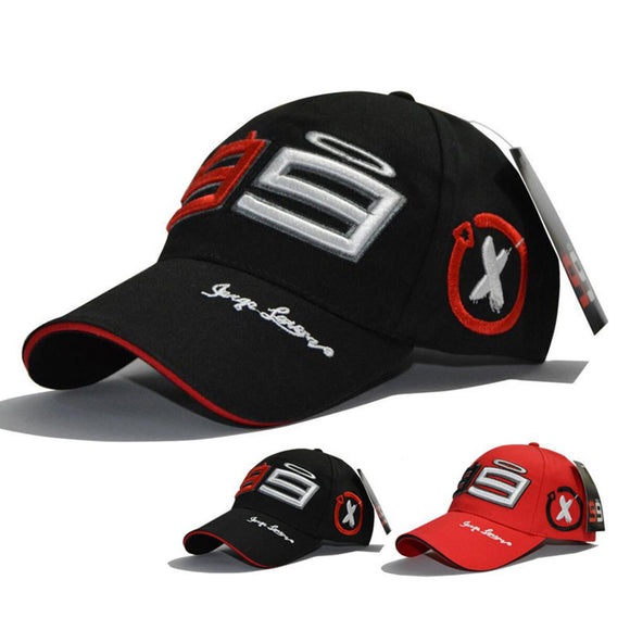 HobbyLane Summmer Cotton Embroidery Season 99 Racing Sports Adjustable Baseball Cap Riding Hat Black / Red for Men Women