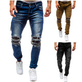 Men's plus-size cotton jeans new denim trousers men's slim solid color high-grade spring autumn ripped 80s pants