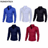 Puimentiua Spring Autumn Men's Slim Fit Long Sleeve Dark Solid Color Lapel Top Large Size Shirt Casual Button Size S-5XL Shirts