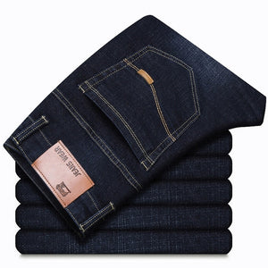 NIGRITY 2019 Autumn Winter Men's Straight casual jeans Fashion denim trousers male pant Blue and Dark Blue Plus Big Size 29-44