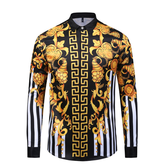 Drop shipping Hot Sale Fashion Men Shirt Casual Slim Fit Long Sleeve High Quality Golden Pattern Print Shirt Chemise Homme