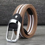 MEDYLA canvas belt men's pin buckle woven elastic elastic belt youth pants with personality belt black buckle breathable belt