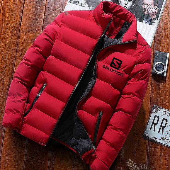 2019 Men Casual Hooded Parka Salomon Printed Winter Men Fashion Patchwork Cotton Slim Fit Coat Thick Warm Homme's Zipper Jacket